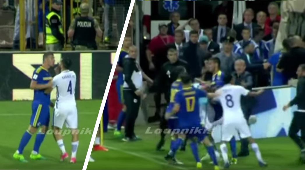 cf7aee84c4282 Bitka po zápase Bosny a Hercegoviny s Gréckom. V akcii Ďžeko a asistent  trénera,. MS vo Futbale ...