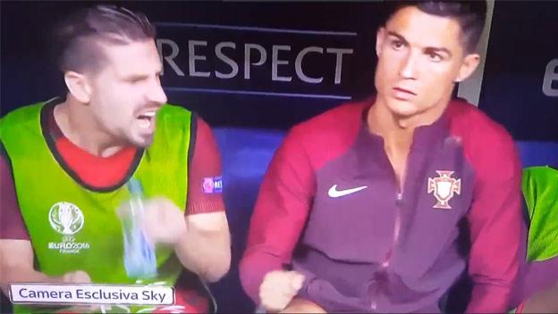 25aee5a1b3626 Vtipný moment z finále: Zranený Ronaldo na striedačke od nervov omylom  udrel svojho spoluhráča!